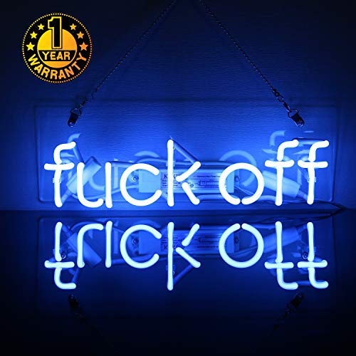 - Neon Light Sign Wall Decor Custom Glass Handmade Lamp Light Night Decorations for Home Room Girls Bedroom Garage Living Room Office Beer Bar Blue - Fuck Off