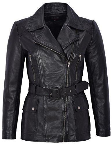 Chaqueta de cuero real de piel de cordero negra de mujer Chaqueta de diseñador de moda de media longitud Abrigo de invierno