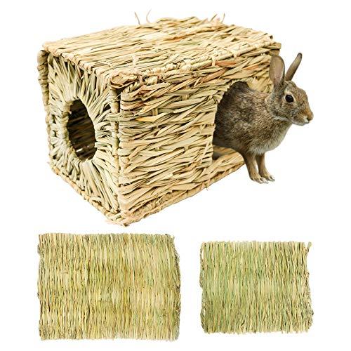 Grashaus-Grasmatten-Set, 1+2 Stück Faltendes Strohhaus mit 2 Grasmatten, Nagerhaus Heuhaus - Natürliches Kleintier zubehör für Kaninchen, Hasen, Meerschweinchen, Hamster und andere Kleintiere (XL)