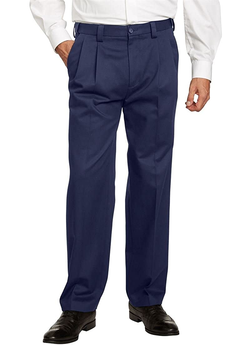 KingSize Men's Big & Tall Classic Fit Wrinkle Free Expandable Waist Pleat Front