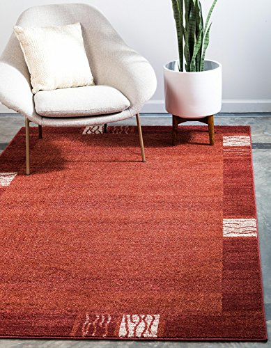(Unique Loom Del Mar Collection Contemporary Transitional Rust Red Area Rug (5' x 8'))