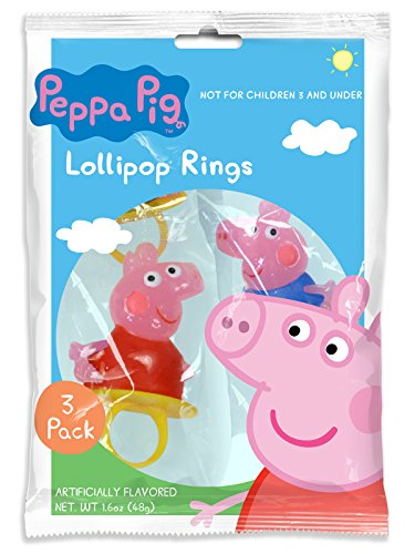 Peppa Pig Ring Lollipop, 3ct bags, 12 bags per pack (36 ring pops total) (Sucker Rings)