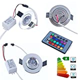 Jambo 4 PC High Power NEW 3W 100-240V 16 Colorful Flashing RGB CLIP Round Recessed LED Ceiling Light with 24Keys IR Remote Control