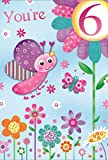 Age 6 Girl Birthday Card - Bright Butterflies & Patchwork Flowers 7.75' x 5.25'