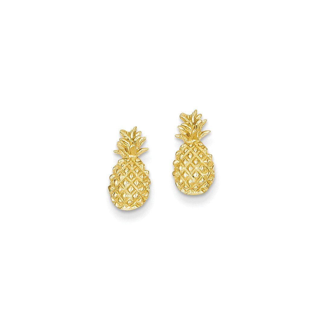 ICE CARATS 14k Yellow Gold Textured Pineapple Post Stud Ball Button Earrings Travel Fine Jewelry Gift Set For Women Heart by ICE CARATS