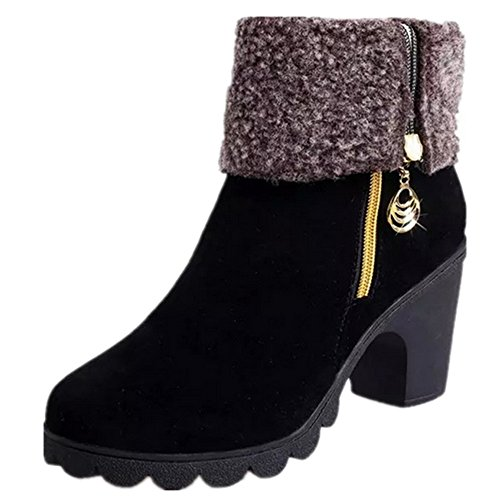 Womens Stylish Winter Snow Faux Fur Lining Foldable Side Zipper Thick Heel Outdoor Booties Shoes Black DkiD30xvdZ