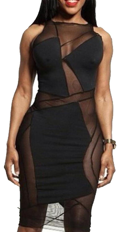 Generic Women's Sexy Net Yarn Splicing Halter Dress