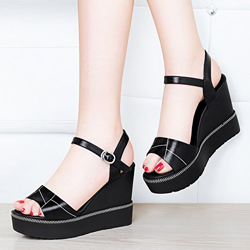 HUAIHAIZ Girl Water Court High Pumps 8993C Sandals Table Shoes Shoes Heels Comfortable Heeled Women Thick High Ground Black sandals gq0wrgS