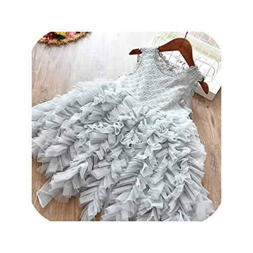 Children Formal Kids Fluffy Cake Smash Dress Girls for Christmas Halloween Birthday Costume,gray1,6 -