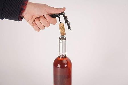 BOJ 00996101- Sacacorchos de doble impulso tipo camarero BOJ con abridor de botellas y corta cápsulas