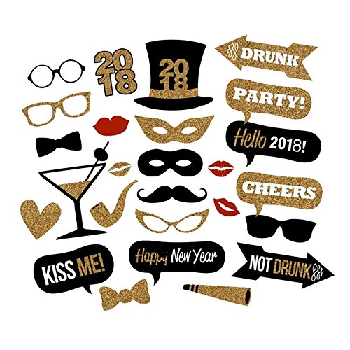 25PCS 2018 New Year's Eve Party Card Masks Photo Booth Props Supplies Decorations by 7-gost