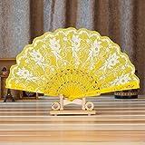 Chinese/Spanish Style Dance Wedding Party Lace Silk Folding Hand Held Flower Fan,Tuscom (Yellow)
