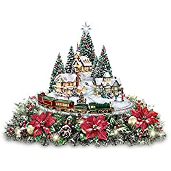 Thomas Kinkade Christmas Village Floral Centerpiece with Lights Music and Motion by The Bradford Exchange
