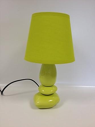 Lampe De Chevet 3 Galets Vert Abat Jour Vert Amazon Fr Luminaires