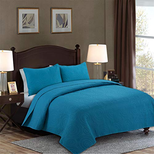 3-Piece Circle Pattern Reversible Bedspread Bed Coverlets Quilt Sets (Turquoise, Queen)