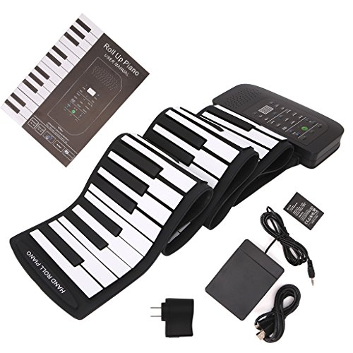 ULKEME 88 Keys Keyboard Piano Silicone Roll Up Keyboard Hand-rolling With Sustain Pedal by ULKEME