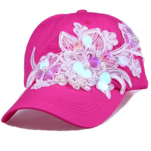 CRUOXIBB Women 's Sequins Flower Baseball Hat Cotton Sun Caps(Sequins Rose Red)