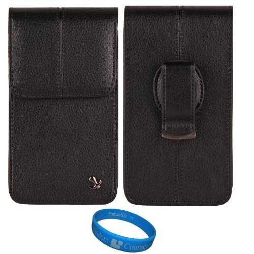 Black Textured Leather Protective Holster Carrying Case (Vertical) for Boost Mobile ZTE Warp Sequent Android Phone + SumacLife TM Wisdom Courage Wristband (Sequent Mobile Boost Zte Warp)