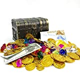 200+ Pieces Pirate Toys Gold Coins and Pirate Gems Pirates Rings Earrings Pearls Jewelery Play set, Treasure for Pirate Party (115 Coins+65 Gems+20 banknotes)