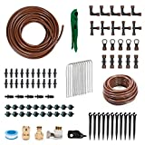 """KORAM OT-C Drip Irrigation Repair and Expansion Kit Include 1/2"""" 1/4"""" Tubing and Fittings Watering Kit with Emitter Automatic Irrigation Equipment Set for Container Gardening"""