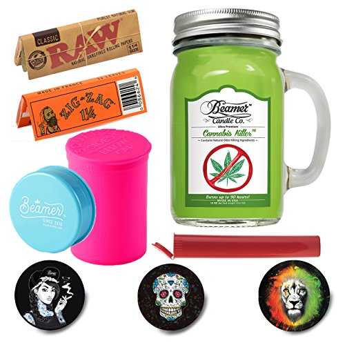 6 Items - 12 oz Candle + 1 Pack Raw 1 1/4 + 1 Pack Orange Zig Zag 1 1/4 + Virgin Acrylic Grinder + 1 98mm Beamer Squeeze Tube ()