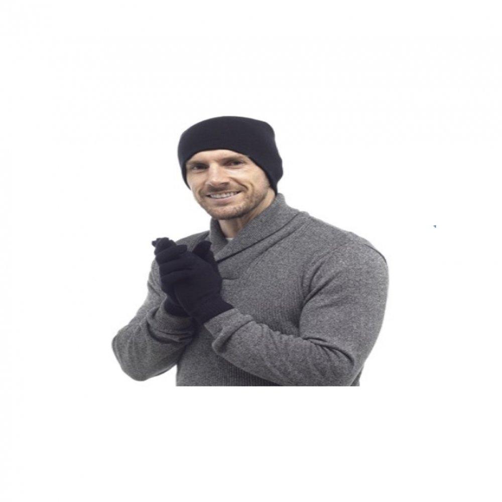 Herren Mütze & Handschuh Set in schwarz