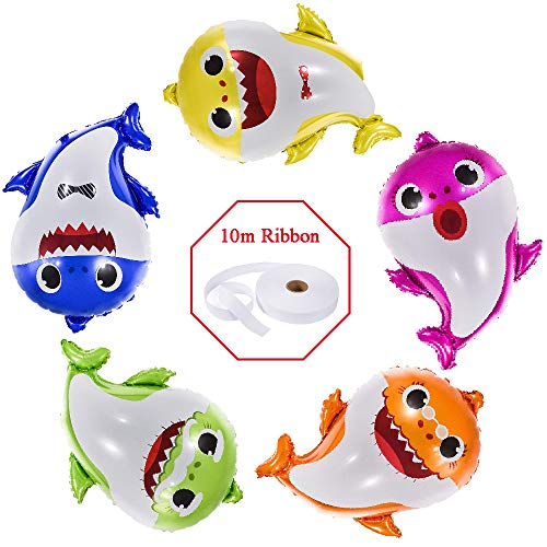 Party Themes For Baby Girl First Birthday (Baby Shark Balloons 24 Inch, 5 Pcs sharks Family Balloons For Birthday Decorations, Baby Cute Shark Theme For 1st Baby Shower Party Supplies, Helium Balloon Decor First Boy And Girl)