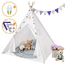 SISTICKER Teepee Tent for Kids with Floor Mat+Feathers+ Bunting+Carry Bag- Kids Gifts for Girls and Boys ChildrenToys Foldable Large Playhouse Indoor and Outdoor (White)