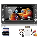 6.2-Inch Double-2 DIN In Dash Touchscreen LCD Monitor with DVD/CD/MP3/MP4/USB/SD/AMFM/RDS/Bluetooth and GPS Navi SAT NAV Head Deck Tape Recorder Subwoofer HD:800*480 LCD Free GPS Antenna+Free GPS Map