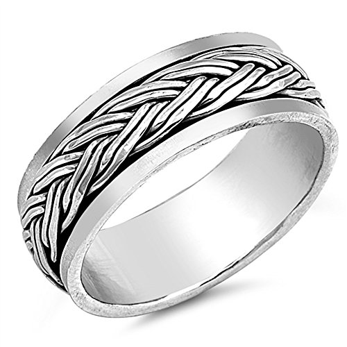 CloseoutWarehouse Sterling Silver Double Braided Spinner Ring Size 11 ()