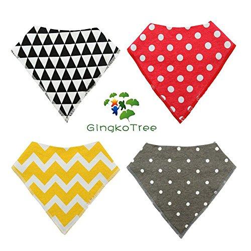 GingkoTree Baberos del Bebé - Paquete de 4 Diseños Pañuelo con Snaps Ajustables, TPU Impermeable Guarnición para niño 0-2 años (Color-4) Color-2