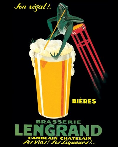 Brasserie Lengrand By G. Piana, Beer Frog Vintage Advertising Poster Print 16x20
