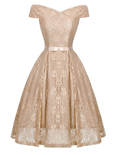 FAIRY COUPLE Women's Off Shoulder Vintage Floral Lace A Line Swing Formal Party Cocktail Dress 2XL Apricot -