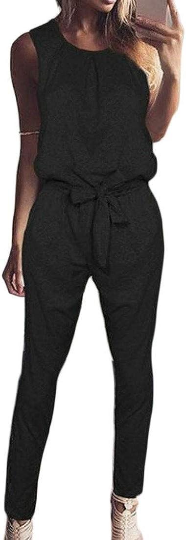 Etecredpow Womens Pants Bow-tie Sleeveless Romper Joggers Jumpsuits