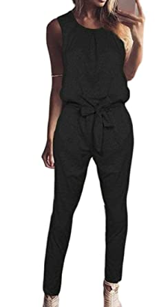 Joe Wenko Womens Casual Pants Sleeveless Denim Playsuit Jean Jumpsuit