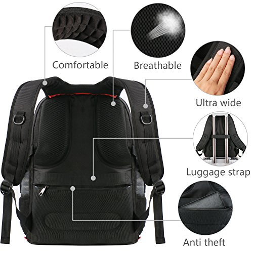 Travel Laptop Backpack, Large Computer Backpack Bag Fits 17 inch Laptop for Men Women for Hiking/School / College, Black TSA Smart Scan Bookbag with 9 Compartments Made of Water-Resistant Fabric by Ytonet (Image #4)