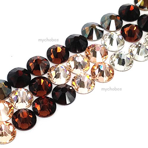 144 pcs (1 gross) Swarovski 2058 Xilion / 2088 Xirius Rose crystal flat backs No-Hotfix rhinestones nail art BROWN & PEACH Colors Mix ss5 (1.8mm) **FREE Shipping from Mychobos (Crystal-Wholesale)** (Silk Roses Swarovski)