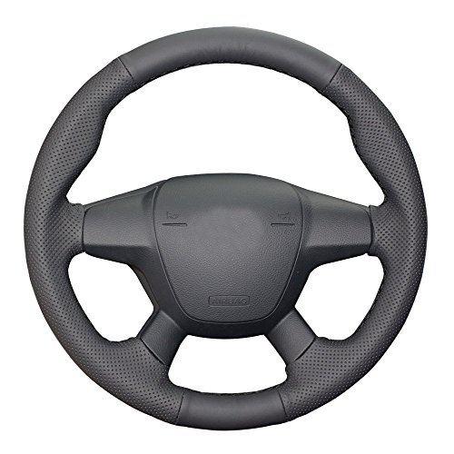 Eiseng Genuine Leather Steering Wheel Cover For 2012 2013 2014 2015 2016 2017 4 Spoke Ford Focus Sedan Hatchback For 13-16 Ford Escape SUV for Ford C-Max Interior Accessories 15 inches (Black Thread)