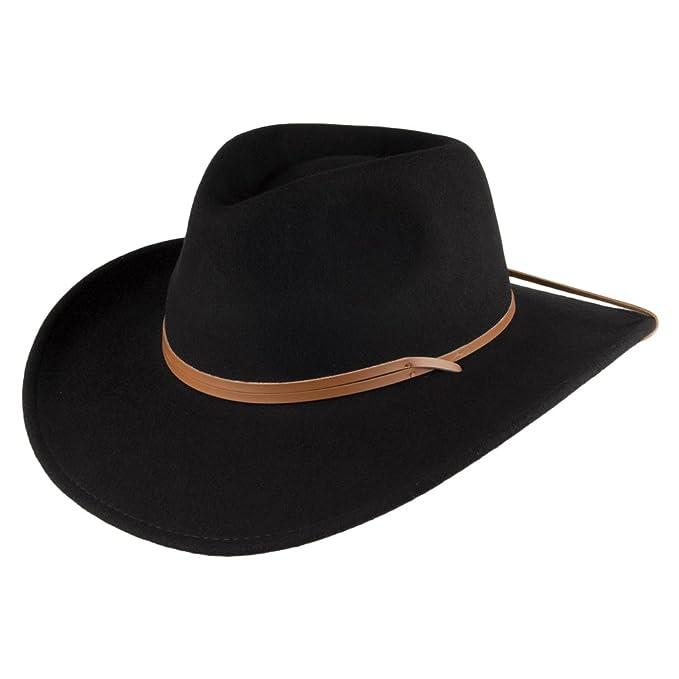 Jaxon   James Sombrero Outback de lana con cordón ajustable - Negro ... cb96ea9c000