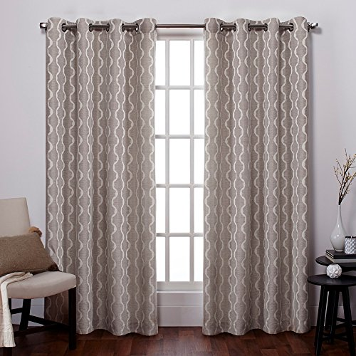 Exclusive Home Baroque Textured Linen Look Jacquard Grommet Top Curtain Panel Pair, Natural, 54x96
