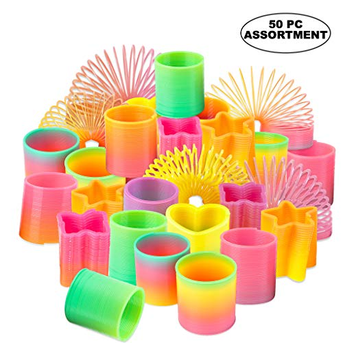 (Rainbow Spring Toy Assortment - (Pack of 50) Mini Plastic Coil Spring Toy | Bright Colors and Shapes, Goody Bag Filler & Party Prizes for Kids by Bedwina)