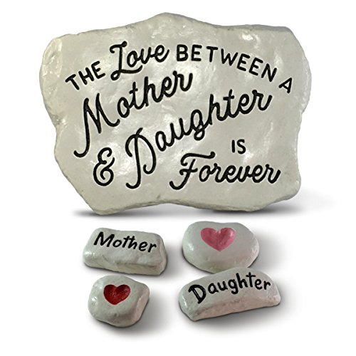 The Love Between A Mother and Daughter is Forever with Mother, Daughter and two Hearts engraved in little cast stones