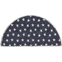 VHC Brands Classic Country Americana Flooring - Multi Star Blue Half Circle Cotton Rug, Navy