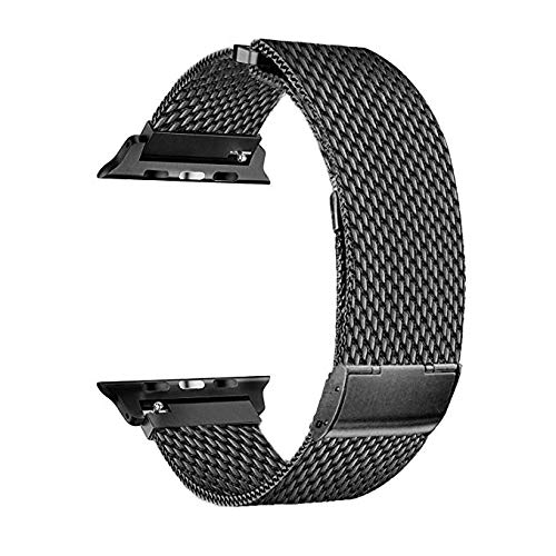Smartwatch Bands for Apple Watch Series 4/3/2/1, Milanese Loop Band Stainless Steel with Adjustable Magnetic Closure Replacement Sport Bands Compatible with iWatch (Black,42mm/44mm)