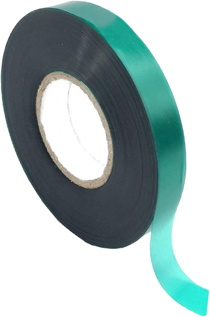 Medoore 1 Roll 150 Feet Stretch Tie Tape 0.5 Inch Garden Tie Tape Thick Plant Ribbon Garden Green Vinyl Stake for Indoor Outdoor Patio Plant Use
