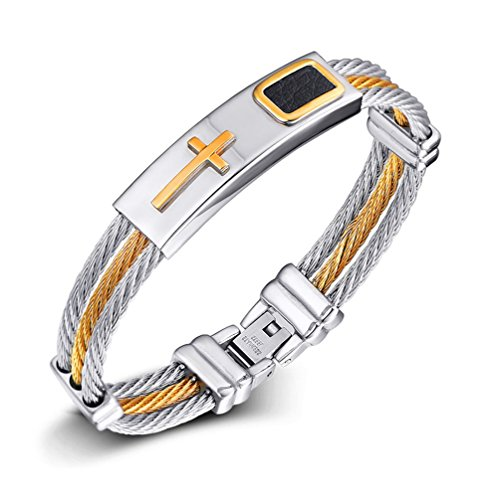 Mens Stainless Steel Two Tone Twist Rope Chain Cross Bracelet,Christian Prayer - Tone Two Twist