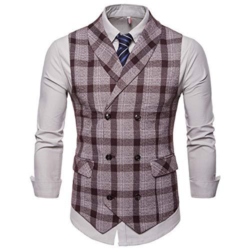 Mens Slim Fit Dress Vest Plaid/Stripes Formal Premium Button Down Vest Mens Vest Waistcoat Coffee ()