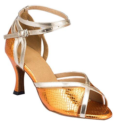 Abby 8011 Mujeres Ballroom Chacha Salsa Elegante Peep Toe Lissom Tobillo Wrap Latin Modern Zapatos De Baile Ocio Snake-skin-pu Cómodo Bloque Heel Soft Sole Rumba Golden (interior Sole)