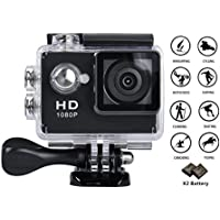 GULEEK 1080P Sports Action Camera Full HD Wide Angle Lens 2.0 inch LCD Screen Two Rechargeable Batteries Waterproof up to 30M Cam DV 5MP DVR Helmet Sports Camera with Kit of Accessories, Black