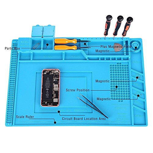 Magnetic Heat Insulation Silicone Mat Repair Kit,Heat-resistant Soldering Mat Silicone Heat Gun BGA Soldering Station Insulation Pad Repair Tools for Mobile Phone and Computer Repair (17.7''11.8'') by Weststar (Image #3)
